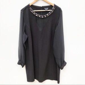 City Chic Plus Size L 20 Black Chain Neck Dress